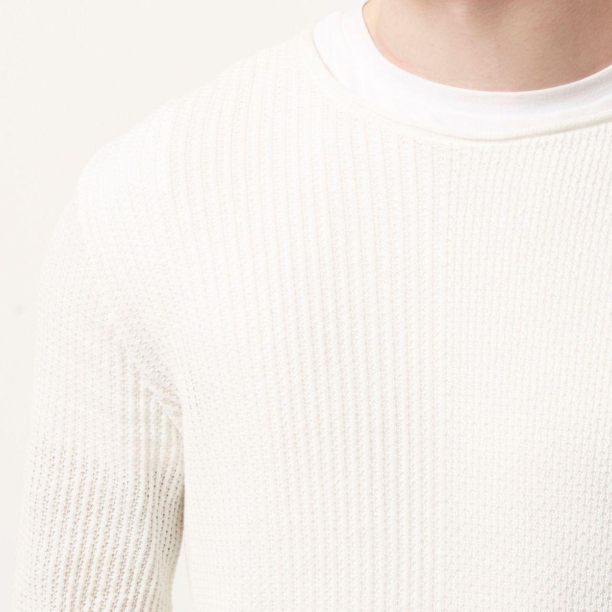 Ecru stitch block jumper