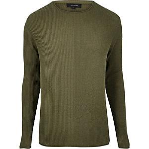 Khaki stitch block sweater
