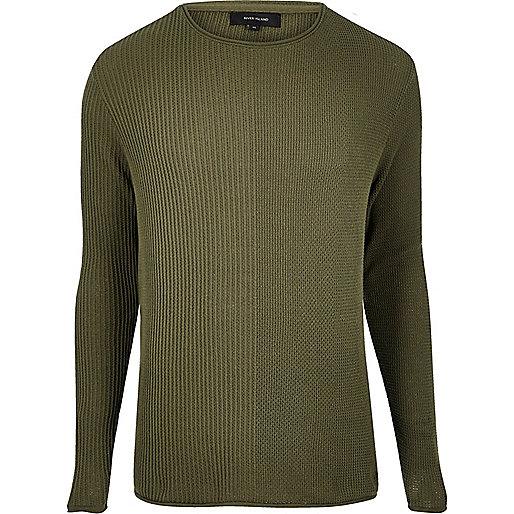 Khaki stitch block jumper