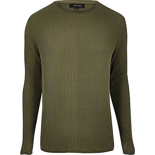 Khaki stitch block sweater