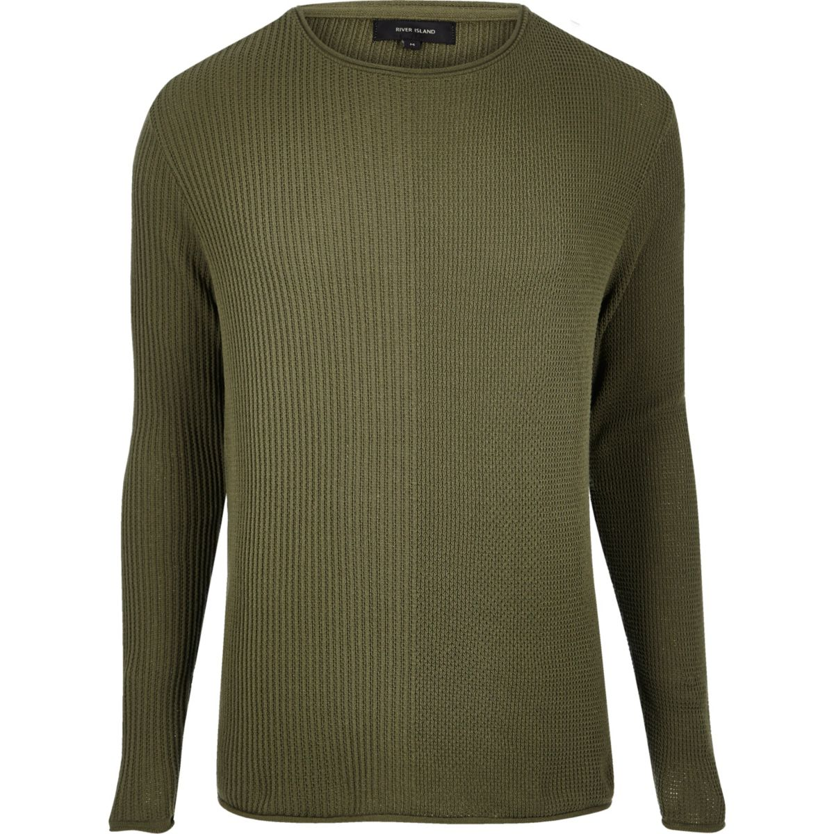 Khaki stitch block jumper