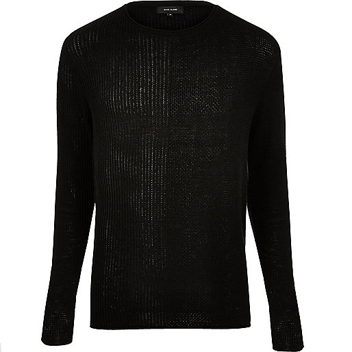 Black stitch block jumper
