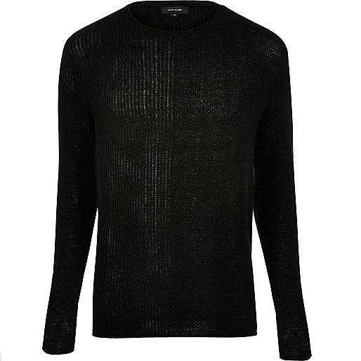Black stitch block sweater