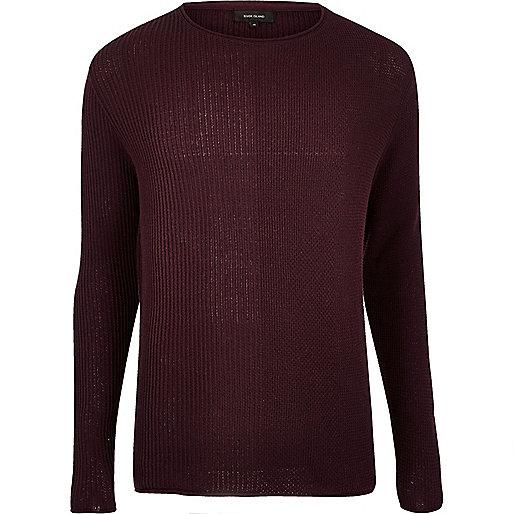 Burgundy stitch block jumper