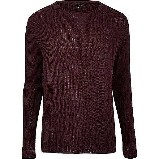 Burgundy stitch block sweater