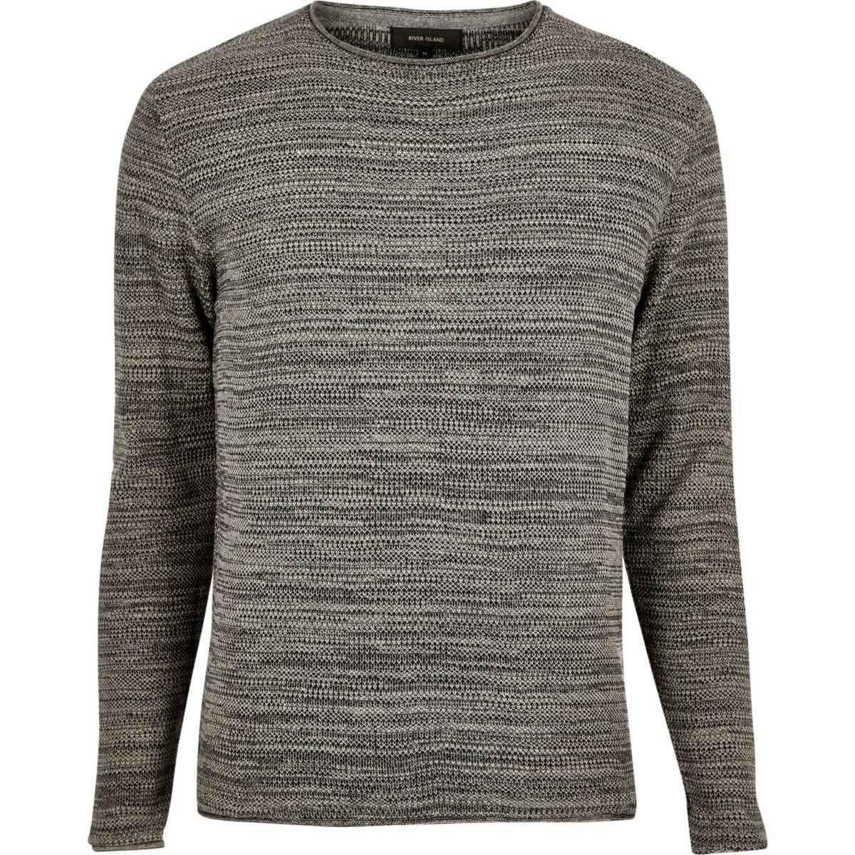Dark grey knitted crew neck sweater