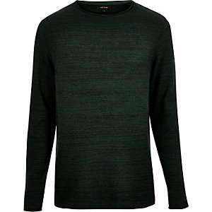 Dark green knitted crew neck jumper