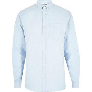 Lichtblauw casual Oxford overhemd