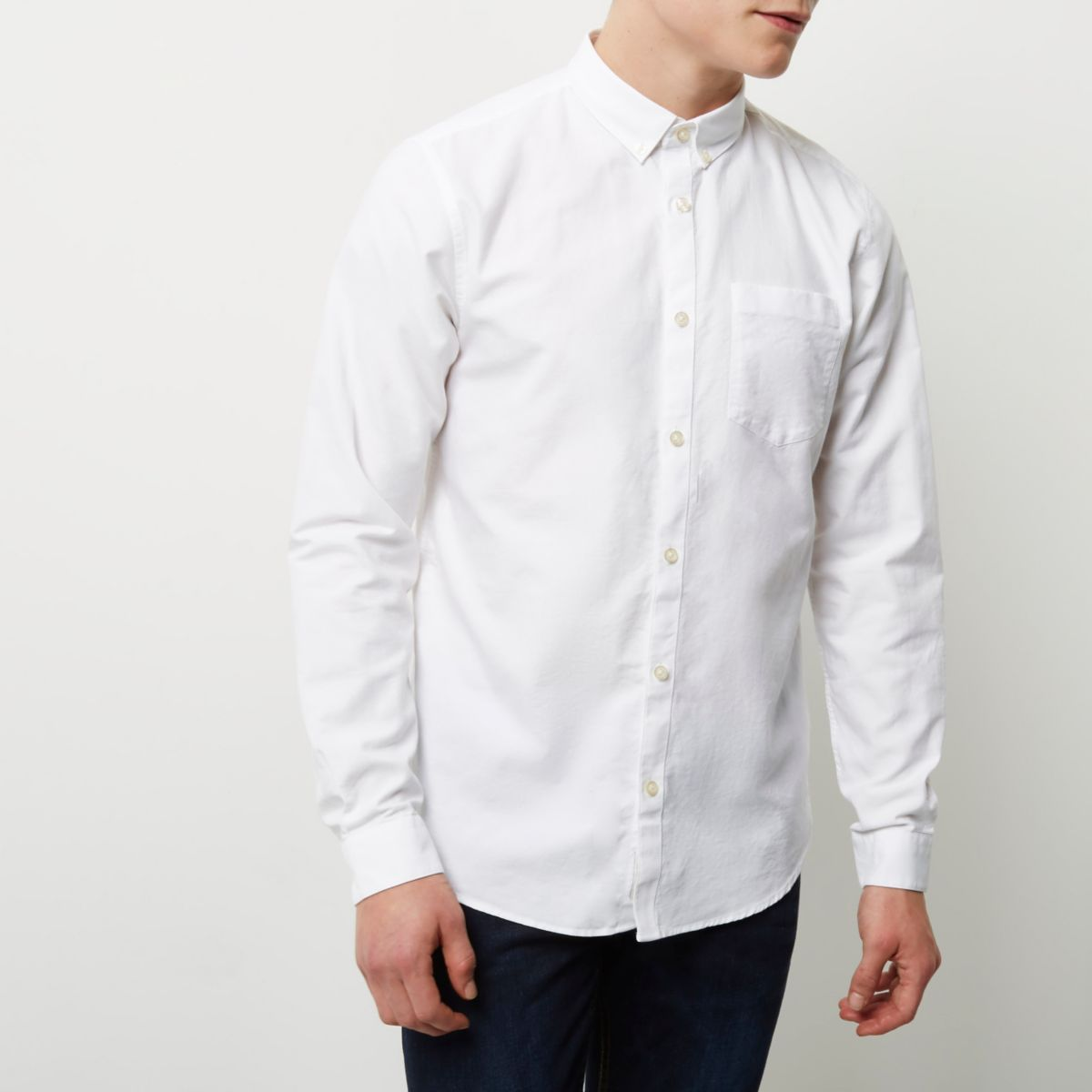White casual long sleeve Oxford shirt - Long Sleeve Shirts ...