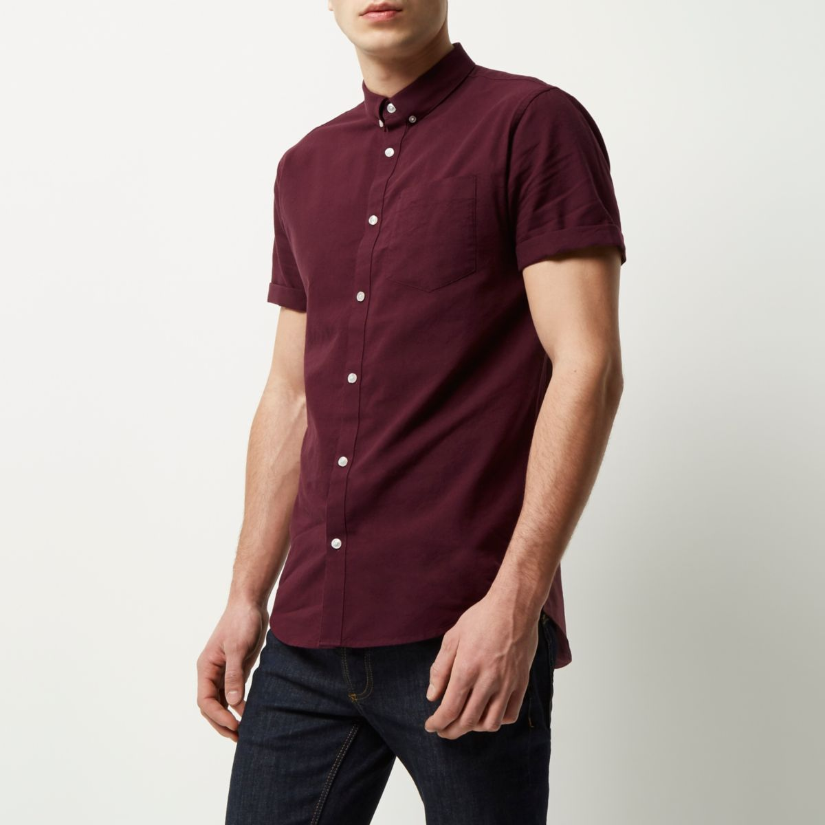 Burgundy short sleeve casual Oxford shirt