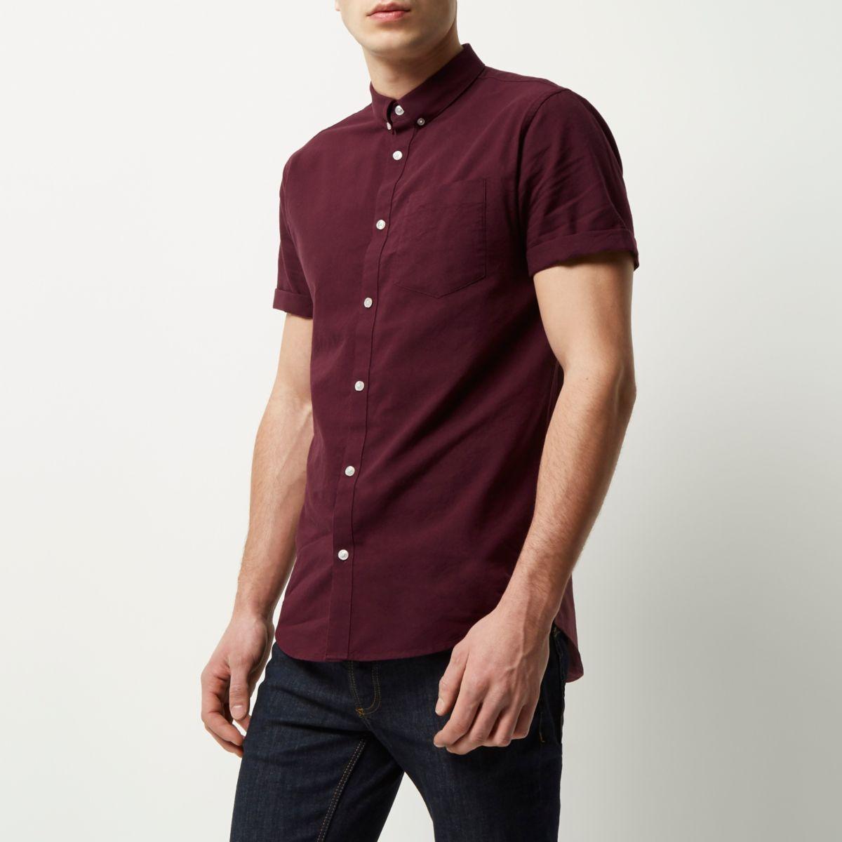 Bordeauxrood Oxford overhemd met korte mouwen