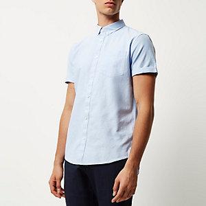 Lichtblauw casual Oxford overhemd met korte mouwen