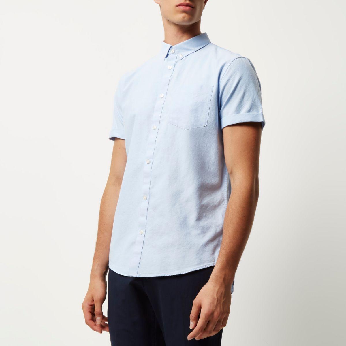 Chemise Oxford bleu clair casual à manches courtes