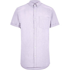 Light purple short sleeve Oxford shirt