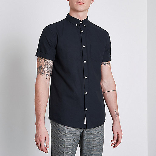 Navy short sleeve casual oxford shirt short sleeve for Mens black short sleeve dress shirt