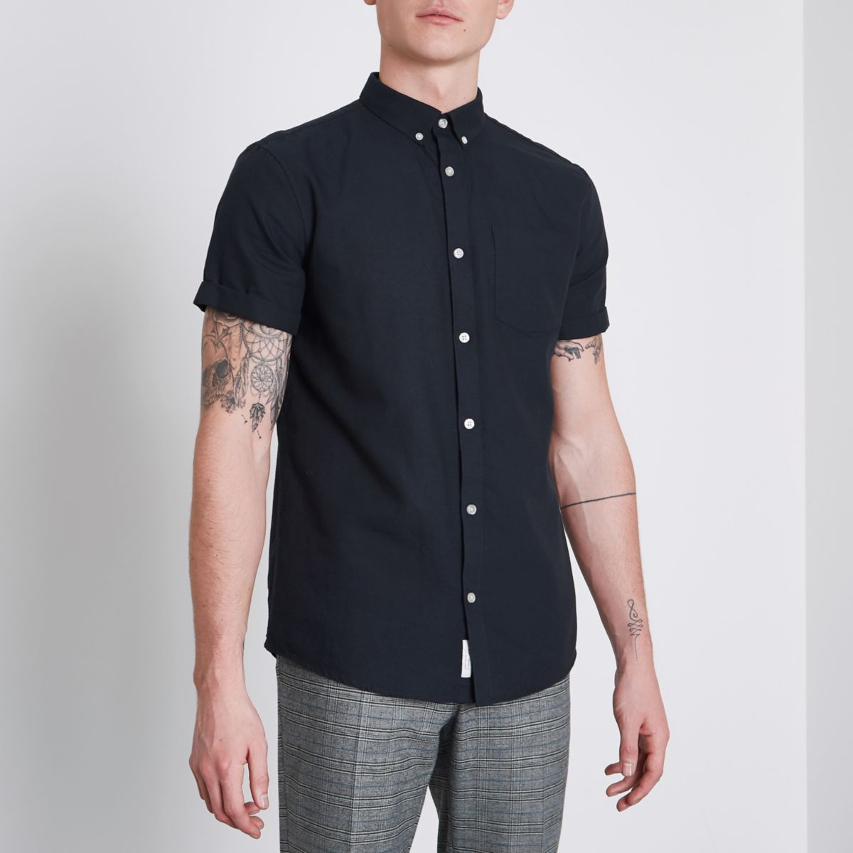 navy short sleeve casual oxford shirt short sleeve