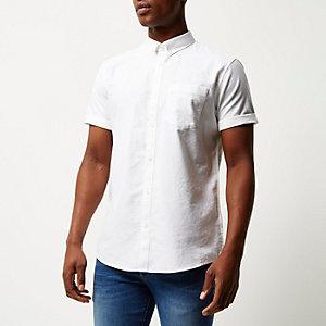 Wit casual Oxford overhemd met korte mouwen