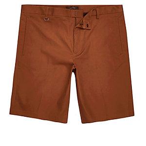 Rust sateen skinny fit bermuda shorts