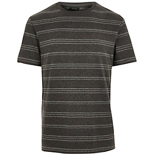 Grey marl stripe print jacquard T-shirt
