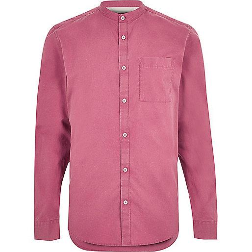 Washed red twill grandad shirt