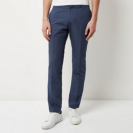 Blue smart slim pants