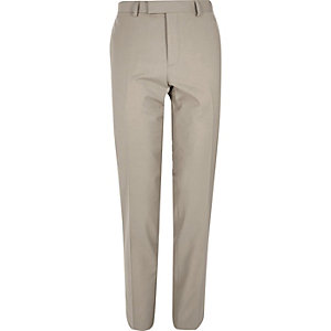 Beige skinny suit trousers