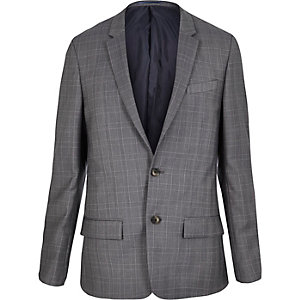 Blue checked skinny suit jacket
