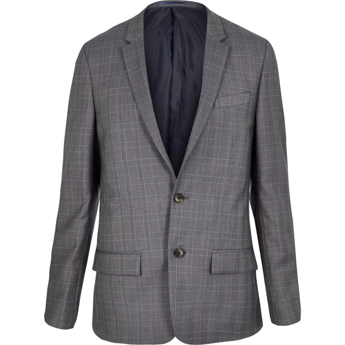 Veste de costume bleue à carreaux coupe skinny