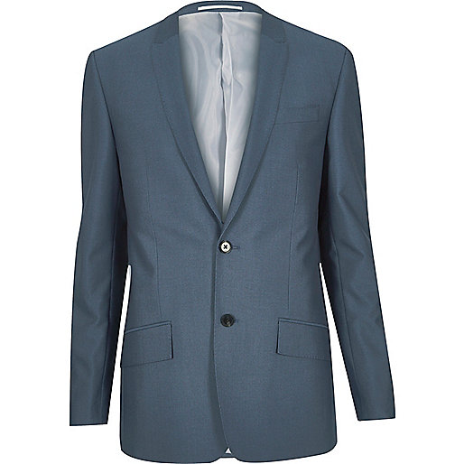Blaue eng geschnittene Anzugjacke