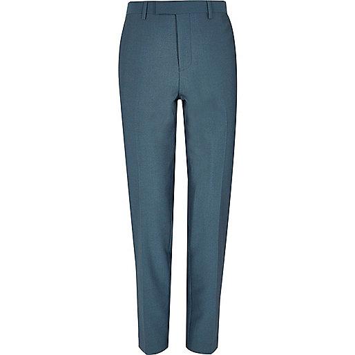 Blue slim suit trousers
