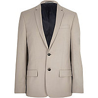 Beige slim fit suit jacket