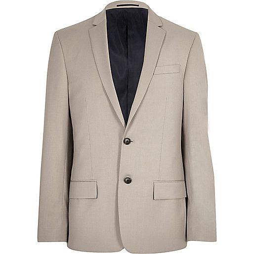 Ecru slim fit suit jacket