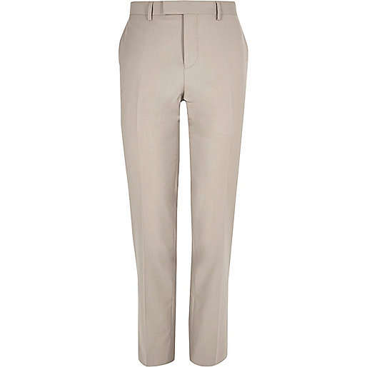 Beige slim fit suit trousers