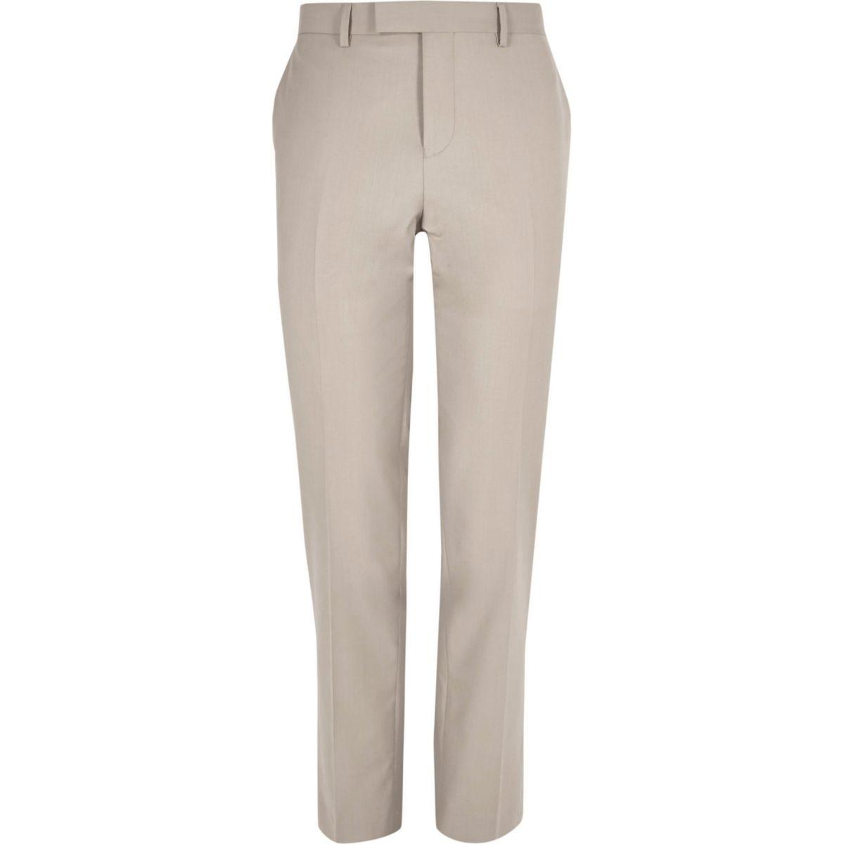 Beige slim fit suit trousers