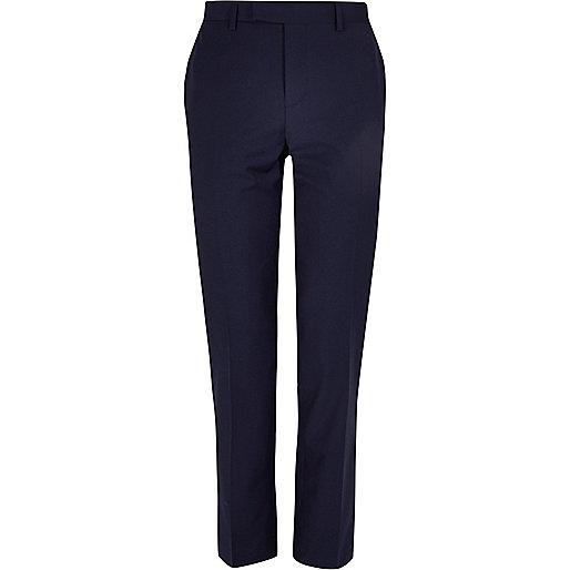 Navy slim fit suit trousers