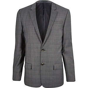 Grey slim fit suit jackets