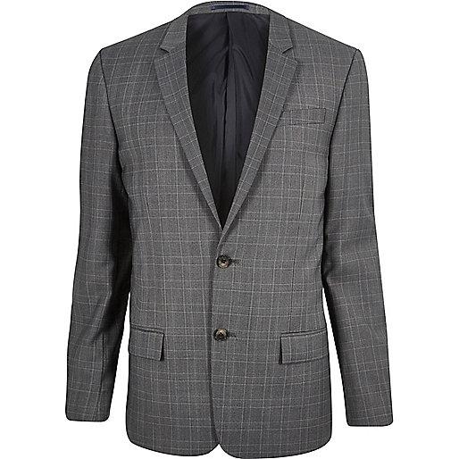 Grey slim fit suit jackets
