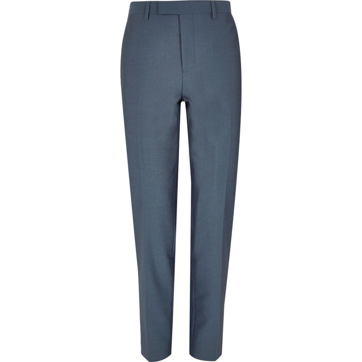 Blue tailored suit pants
