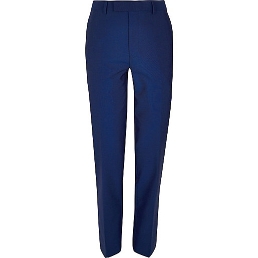 Blue tailored suit trousers