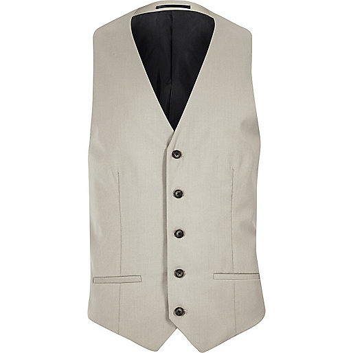 Ecru slim fit vest