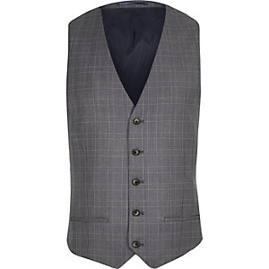 Blue checked vest