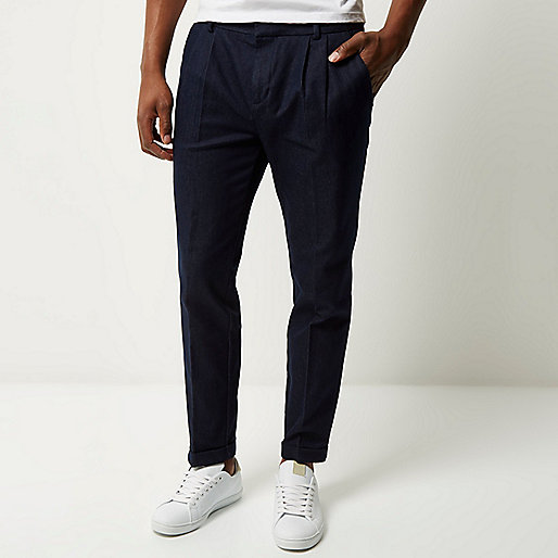 Blue denim slim cropped trousers