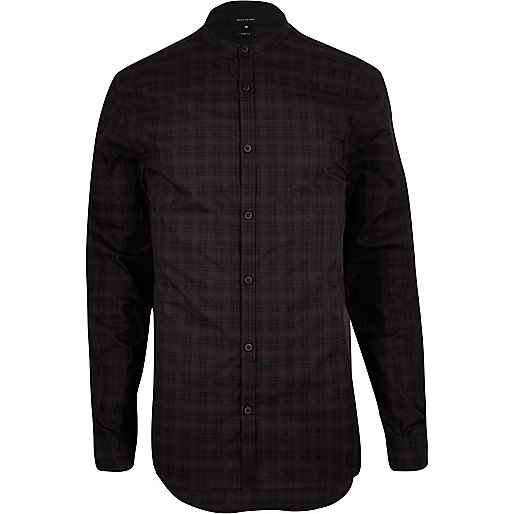 Dark purple check grandad longline shirt