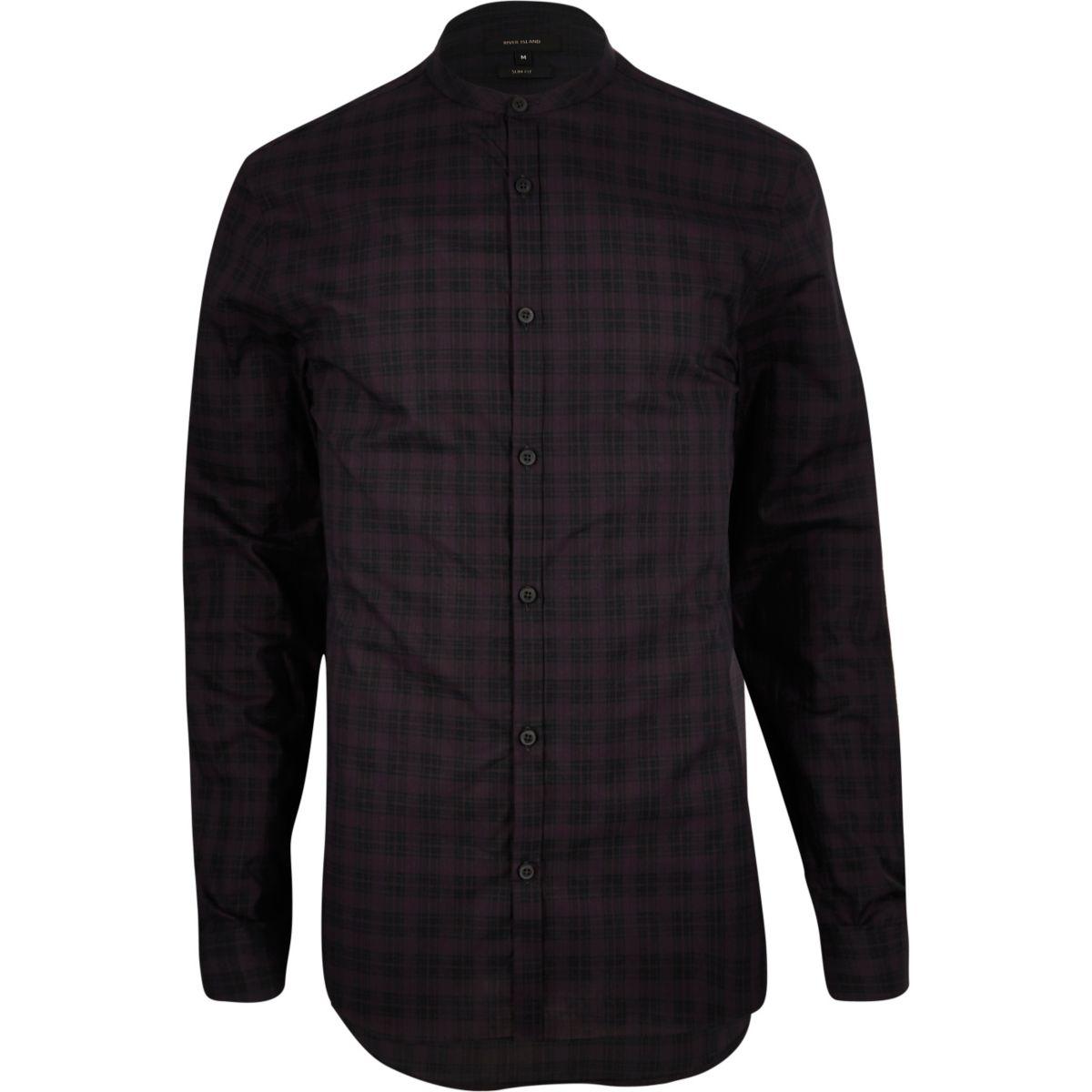 Dark purple check grandad longline shirt