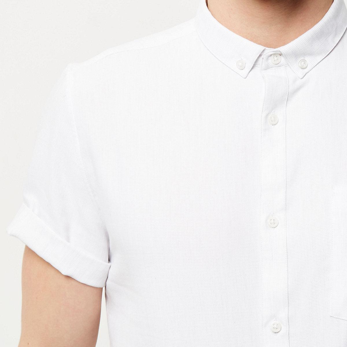 White waffle short sleeve shirt