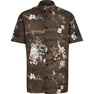 Brown koi print shirt