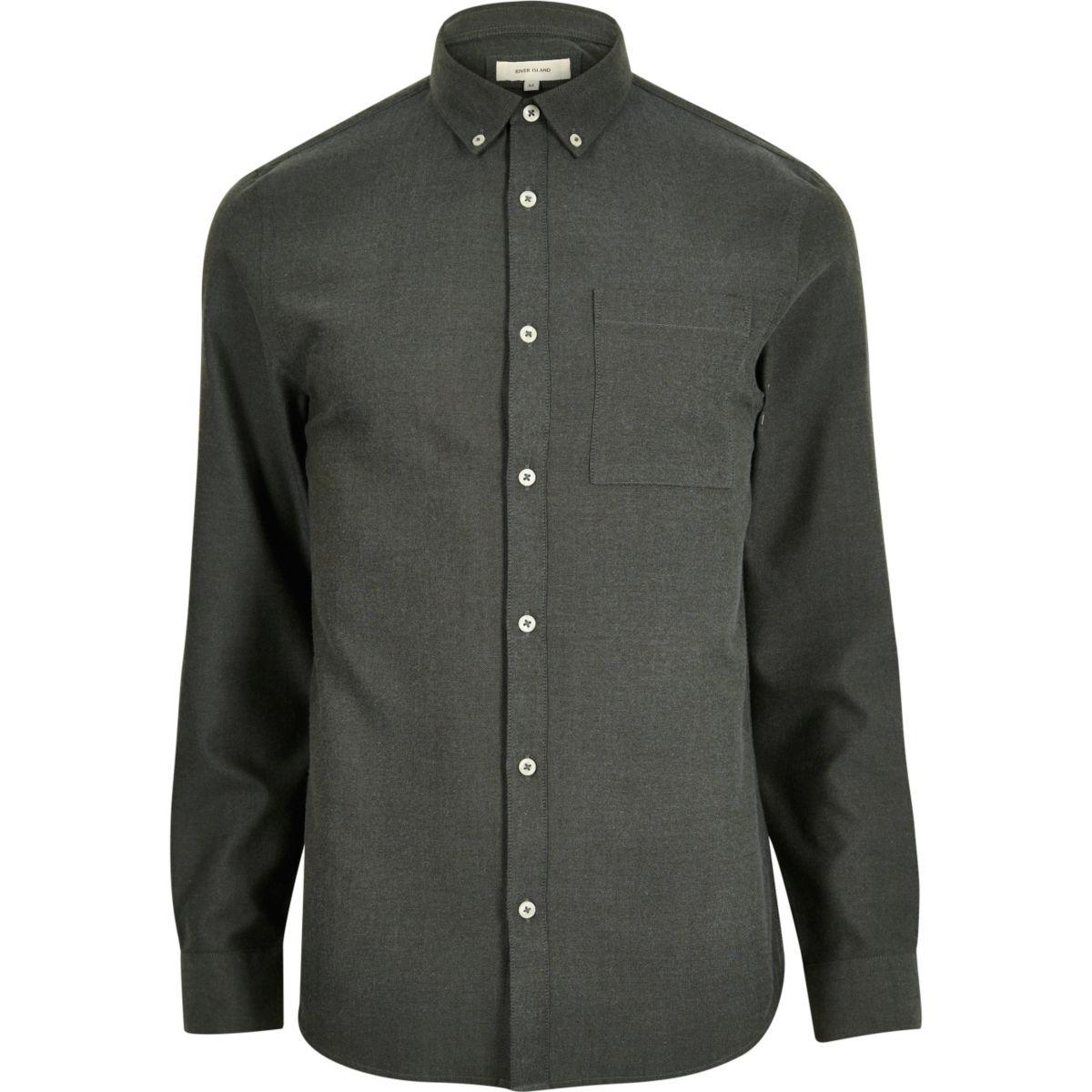 Green flannel long sleeve shirt