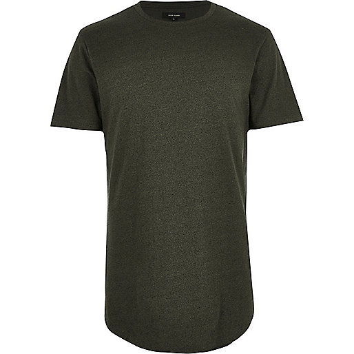 Dark green longline curved hem T-shirt