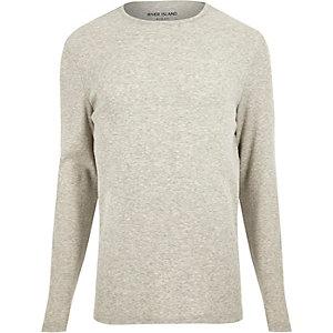 T-shirt gris côtelé cintré à manches longues