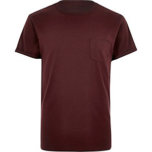 Burgundy chest pocket T-shirt